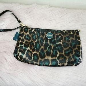 New Coach Jade Leopard Print Clutch Wristlet